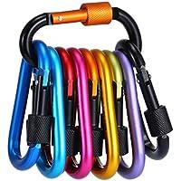 10 Stück Karabiner mit Schraubverschluss, Gimars Schlüsselanhänger Karabinerhaken Aluminium Schraubkarabiner für Camping, Angeln, Wandern oder Reisen