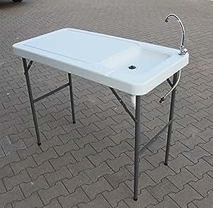 Tavolo da campeggio con lavandino 115 x 60 cm altezza tavolo per campeggio cucina o per - Altezza tavolo da cucina ...