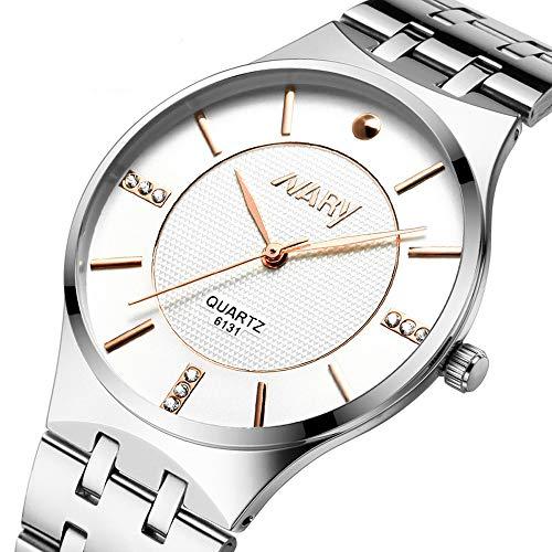 Tziuz Herren Quarzuhr, schlanke minimalistische Stahlgürtel koreanische Version der Nagel Strass Skala Paar Uhr geeignet für Männer, Damen, Paare -