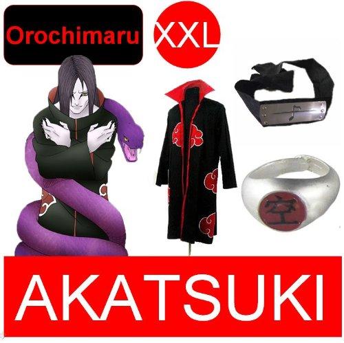 Naruto costume cosplay Set per Orochimaru- Akatsuki Mantello + anello Akatsuki Orochimaru+ fascia, taglia XXL (altezza 185 cm-190 cm)