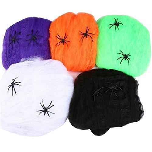 Abseed 5 Set Halloween Spinnweben Spinnen Netz Deko Spinnennetz mit 2 Spinnen (Bunt)