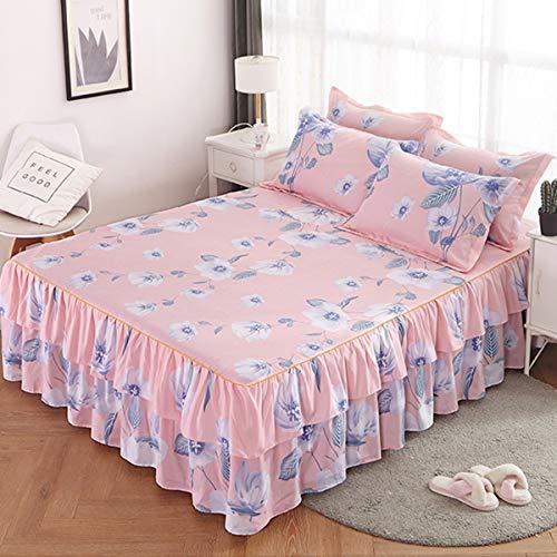 Bedtang Bettüberwurf Tagesdecke Bett Rock Tagesdecke Bett Abdeckung Bettüberwurf mit 2er Set Kissenbezug (Tagesdecke Mit Dem Bett-rock)