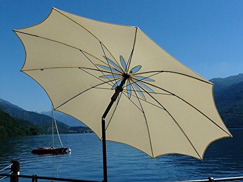 Maffei Art 27Bea. Schirm-Design, rund, Durchmesser cm. 200mit speziellen Winddicht geschnitzt in Form von Blume. Patentierte Made in Italy. Farbe Ecru.