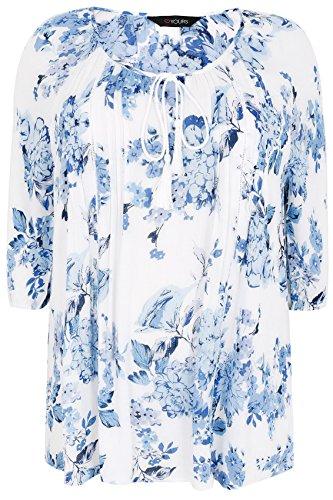 Yours Clothing - Chemisier - Body chemise - À Fleurs - Manches 3/4 - Femme Bleu