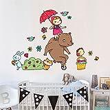 wall art R00297 Adesivo murale per bambini Masha e Orso con ombrellino - Misure 40x120 cm - Decorazione parete, adesivi per muro, carta da parati