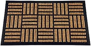 ID Mat 4060 Cuba Naturel Rectangulaire Damier Tapis Paillasson Fibre Coco/Caoutchouc Beige 60 x 40 x 1 cm