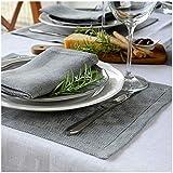 Linen & Cotton Luxus Tischsets/Platzsets mit Hohlsaum Scandi, 100% Leinen - 30 x 44cm (2 Stück), Grau/Silber