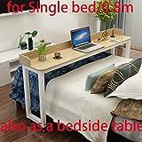 Über Bett Tisch Betttisch auf Räder Rollen Bett Tisch über dem Bett Tisch Laptop Cart Laptop Schreibtisch Mobile Schreibtisch Computer Schreibtisch 1 m für Krankenhaus Home Office Studie (Holz)