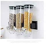 Dispensador de cereales Hefine, para montar en la pared, para cereales y alimentos secos, para el hogar, cocina, encimeras, desayuno, mascotas, gato, perro, comida y caramelos 500 g negro