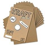 50x Vintage Kraftpapier DIN A6 410 g/m² Natur-braunes Recycling-Papier Bastel-Karton Künstler-Karton Künstler-Pappe I Umwelt by Gustav NEUSER®