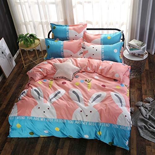JSDJSUIT Bettwäsche gesetzt Süßes Kaninchen Rosa Bettwäsche Kid Teen Mädchen Bettwäsche Set Twin Queen Size Bettbezug Kissenbezug Bettlaken-Königin 4 stücke - Mädchen Teen Bettwäsche Rosa