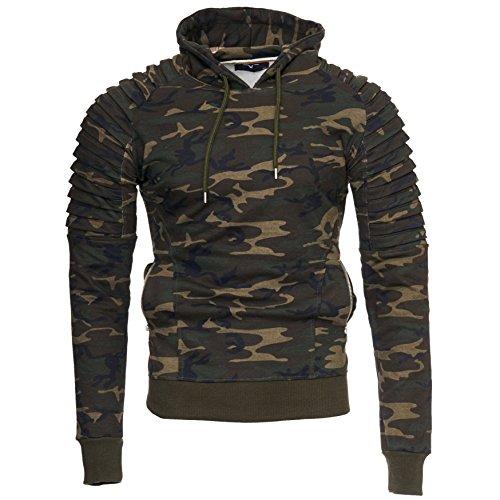 Kayhan Herren Hoodie New York, Camouflage/Grüntöne(L)