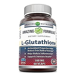 Amazing Formulas L-Glutathione 500mg 60 Vcaps - Antioxidant Properties Helps Reduce Free Radical Damage - Helps Reduce Inflammation - Supports Immune Health
