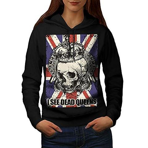 Schädel Tot Königin Metall Vereinigtes Königreich Skelett Vereinigtes Königreich Damen M Kapuzenpullover | Wellcoda