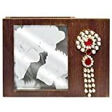 Brown Wooden Photo Frame with Diamond Br...