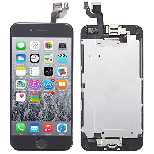 Display Vormontiert für iPhone 6 iPhone 6S Schwarz Weiß LCD Digitizer Ersatz Screen Retina Black White (Schwarz, iPhone 6S)