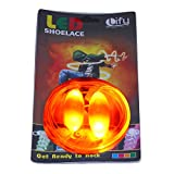 Lify Orange Color Waterproof Luminous LED Shoelaces Fashion Light Up Casual Sneaker Shoe Laces Disco Party Night Glowing Shoe Strings -1 Pair