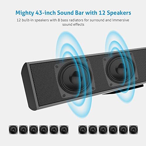 Meidong Bluetooth Barra de Sonido TV 12 Altavoces 72 Vatios de Alta Fidelidad Surround Bass TV Soundbar para 50 Pulgadas TV Wall Mount 2.0 Canal con Control Remoto Altavoz de Fiesta (Modelo 2018)