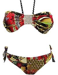 Maillot de bain femme 2 pièces bikini bandeau multicolore culotte réversible noir rouge