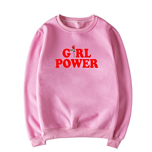 Lueyifs Girl Power Übergröße Langarm Oversize Sport Casual Sweatshirt Herbst Lang Kapuzen Pullover Sweatshirt Hoodie mit Tasche (L, Rosa01) (Hoodie Power-kinder)