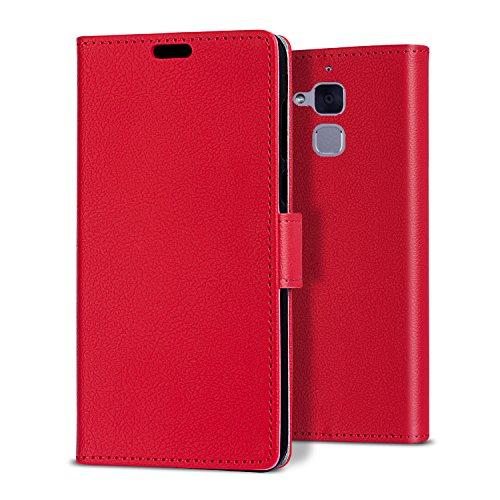 Zenfone 3 Max Hülle, bdeals Flip Elegant PU Ledertasche Handyhülle Brieftasche Schutzhülle für ASUS Zenfone 3 MAX (5,2 Zoll) ZC520TL (rot)