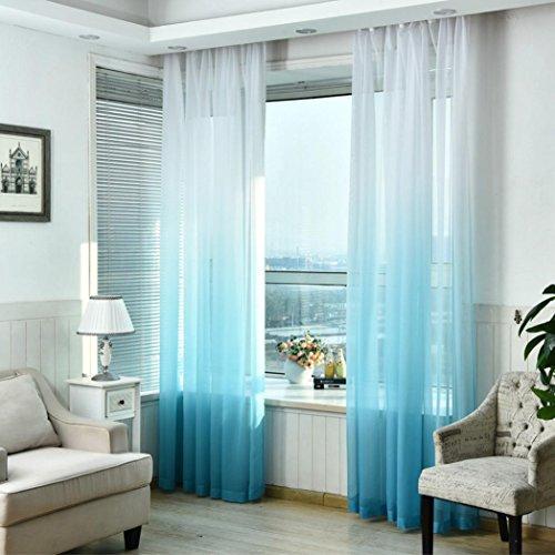 LCLrute 1er Gardine Vorhang transparent aus Voile Dekoschal Gradient Farbe Fenster Screening 270cm x 100cm (Blau)
