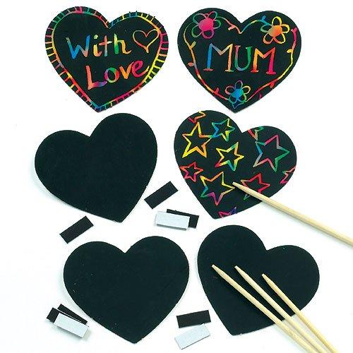 -Magneten - Herz - scratch art für Kinder zum Basteln ideal zum Valentinstag und Muttertag (10 Stück) ()