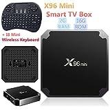 2GB RAM 16GB ROM X96 Mini Android 7.1 4K TV BOX Amlogic S905W Support 2.4G WIFI LAN H.265 + I8 Mini Wireless Keyboard