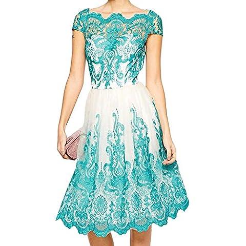 LaoZan Donne Elegante Girocollo In Pizzo Ricamato Garza Dress Slim Blu L