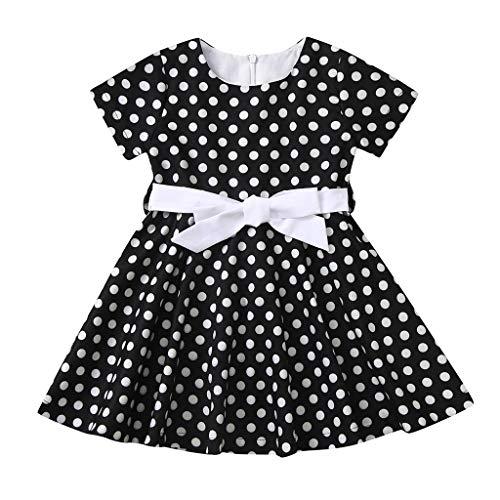 INLLADDY Kleider fur Kinder Mädchen Vintage Print Abendkleid Rock Kleid Retro Faltenkleid Schwarz 6-8 Jahre