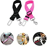 UEETEK 2pcs Einstellbare Auto Haustier Hundegeschirr Katze Auto Fahrzeug Sicherheit Leine Sicherheitsgurt für Hunde Haustiere (Black + Pink)