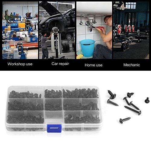 Neufday 340Pcs Flansch selbstschneidende Schrauben Bolt Cross Head Black Assorted Set mit Gehäuse-Sortiment -
