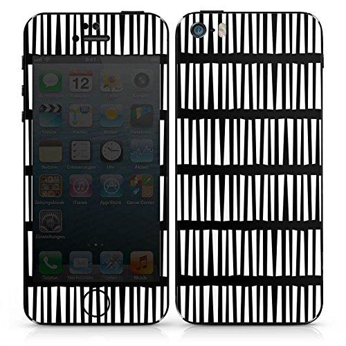 Apple iPhone SE Case Skin Sticker aus Vinyl-Folie Aufkleber Linien Streifen Schwarz Weiß DesignSkins® glänzend