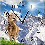 Wallario Glas-Uhr Echtglas Wanduhr Motivuhr • in Premium-Qualität • Größe: 30x30cm • Motiv: Kuh im Sonnenschein in den Alpen