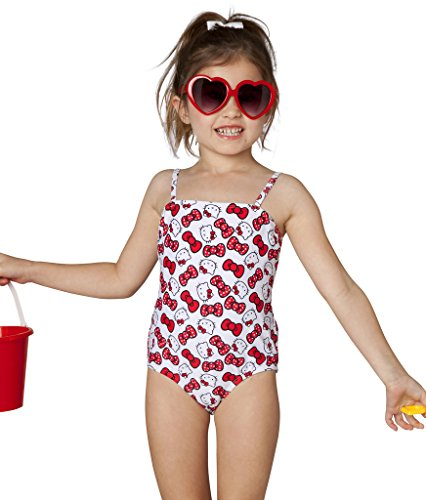 Hello Kitty Girls' Bow Print One Piece (2T, Red)