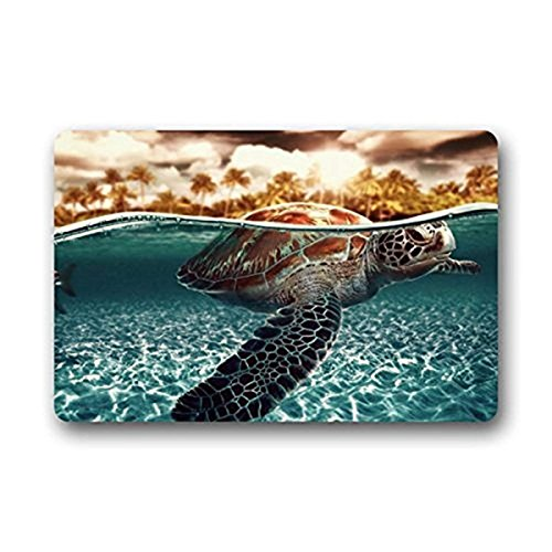 tgyew Cushion Tropical Coconut Tree Island Sea Turtles Roam In The Sea Home Decorations Rug Rectangle Size 23.6x15.7,Multi-Function Indoor Outdoor Beautiful Doormat -
