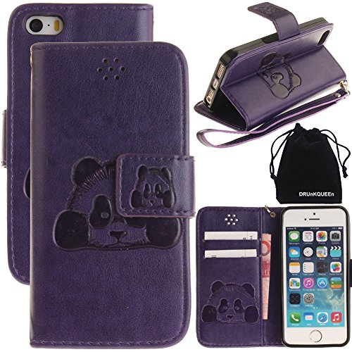 3d-fall (drunkqueen iPhone SE Fall, iPhone 5S Fall, iPhone 5 Fall, 3D Creative Cartoon Panda Weich Leder Fall mit Handschlaufe für iphonese/iPhone 5S/iphone5 - Violett)