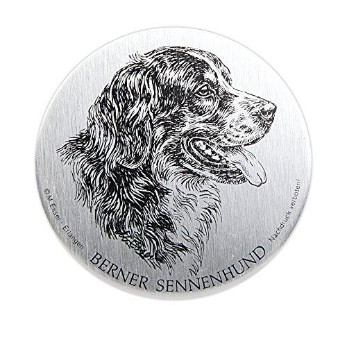 Schecker Selbstklebende silberfarbene Metallplaketten Berner Sennenhund Wetterfest versiegelt für den Briefkasten oder auch Autoaufkleben hochwertig und edel Warnschilder -