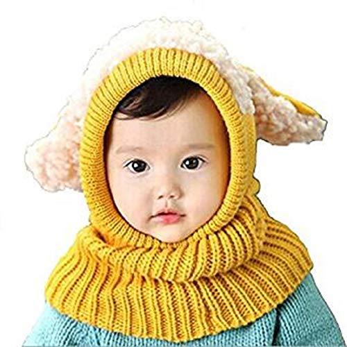 Panlom® Winter Baby Kids Girls Boys Warm Woolen Coif Hood Scarf Caps Hats (Yellow)