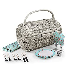 PICNIC TIME Barrel Picnic Basket with Service for Two, Watermelon Collection