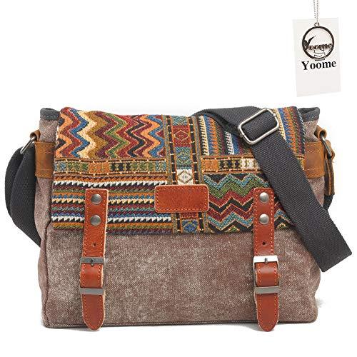 Yoome Ethnic Style Messenger Bag Multifunktionale Canvas Crossbody Umhängetasche für Herren & Damen