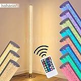 Lampadaire Pipe RGB en métal, nickel mat, luminaire LED pour salon, bureau, chambre - Variation d'intensité et de couleur grace à la télécommande incluse.