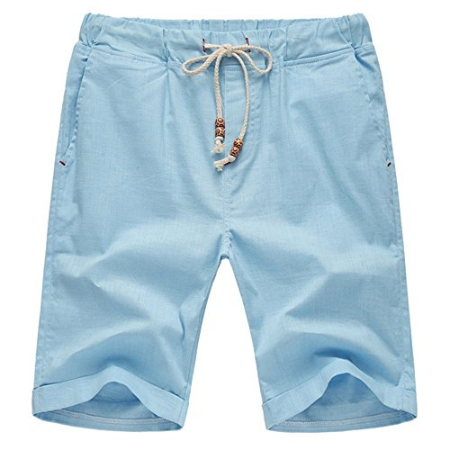 AIYINO Herren Leisure Fit Shorts in Verschiedenen Farben (Medium, Hellblau) (Shorts Relaxed Fit)