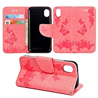 Wiko Sunny Max Case, COOSTOREEU Butterfly Pattern PU Leather Wallet Stand Flip Case Cover for Wiko Sunny Max, Pink