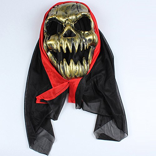Hacoly Horror Geist Totenkopf Maske Halloween Vampir Latex Cosplay Blutig Masken Verwesender Gruseliger Zombie Maske Adult Kostüm Zubehör - Golden