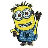 Aufnäher/Bügelbild - Minions winkt - blau gelb - 6,5x5cm - by catch-the-patch® Patch Aufbügler Applikationen zum aufbügeln Applikation Patches Flicken