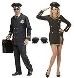 PILOT PILOTIN Partner Kostüm Damen und Herren Uniform Flugkapitän Stewardess, Pilot/Pilotin:Damen XS