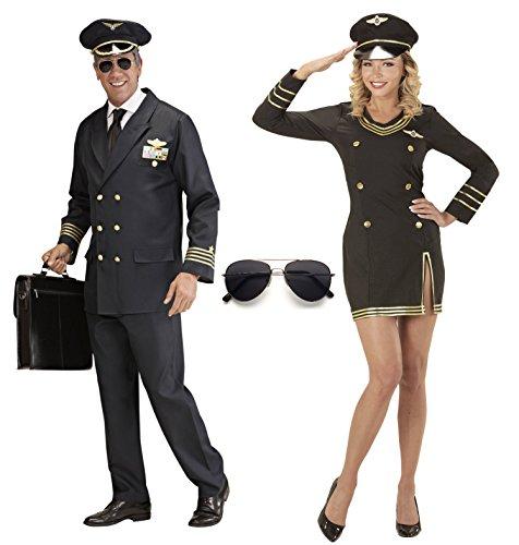 (PILOT PILOTIN Partner Kostüm Damen und Herren Uniform Flugkapitän Stewardess, Pilot/Pilotin:Damen M)