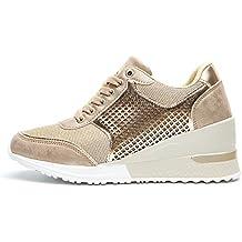 Zapatillas Deportivas Plataforma Cuña para Mujer - ANJOUFEMME Zapatos Wedge Sneakers Mujer, Apto para Todas