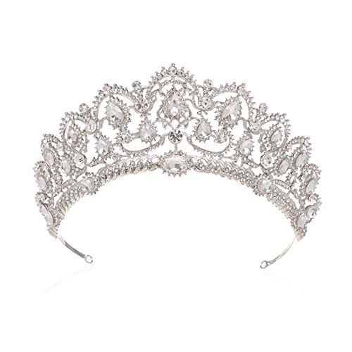 Kostüm Schmuck Modell - SWEETV Luxus Prinzessin Diadem Hochzeit Krone Braut Tiara mit Kristalle für Festzug Prom, Transparent